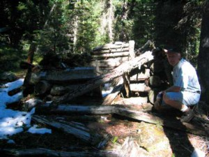 Old trapper's shelter below the pass