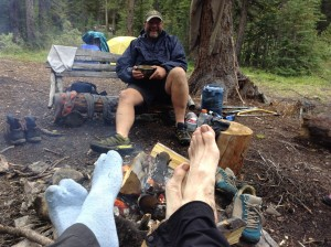Warming toes at Pinto Lake campground