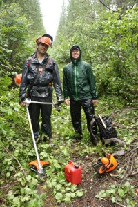 The soaking wet trail clearing crew