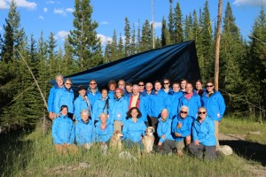 The GDTA Volunteer Trail Crew in North Face blue