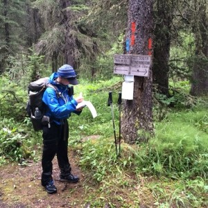 "Junction of GDT and Baril Creek access trail showing blue blaze. Photo courtesy of Erin (""Wired"") Saver"