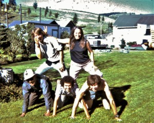Some of the Project: Great Divide Trails crew at their base of operations in the Kinnears' back yard in Coleman, Alta. in June 1974 - (top) Cliff White, Mary Jane Cox (now Kreisel), (bottom) host Bill Kinnear, Dave Zevick and Dave Higgins, Coleman, Alta., summer of 1974. (Photo by Nettie Kinnear)