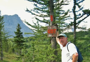 Dave Higgins with freshly painted blaze along the GDT in the Cataract Plateau area in 2004